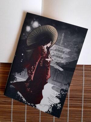 Caderno sketchbook brochura A5 gueixa na neve Jéssica Lang